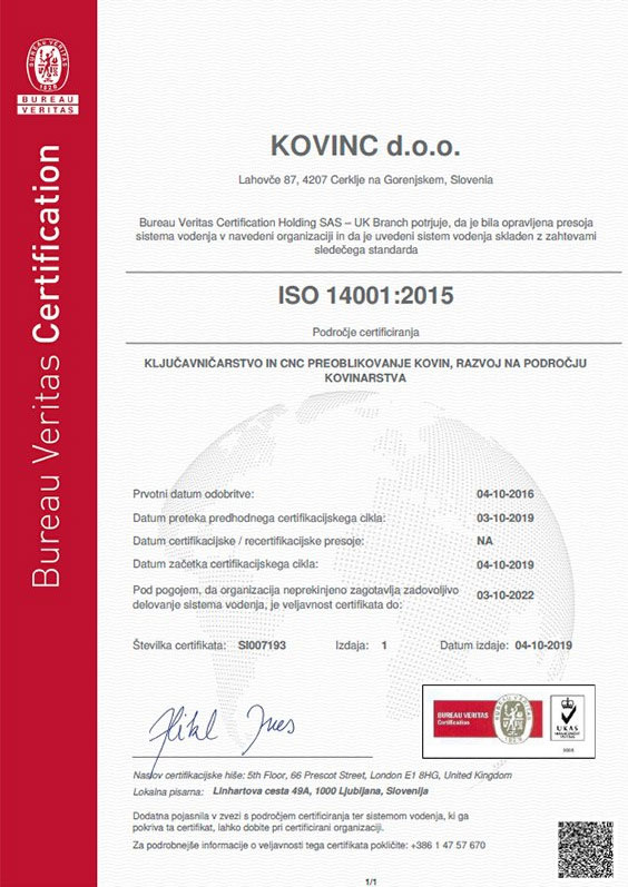 Certifikat ISO 14001